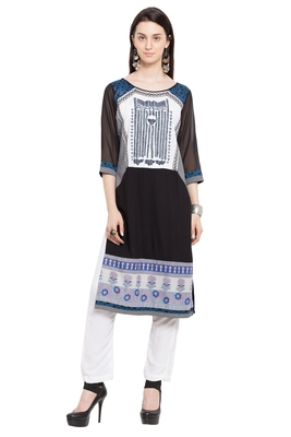 Black Printed Cotton Stitched Long Kurtis