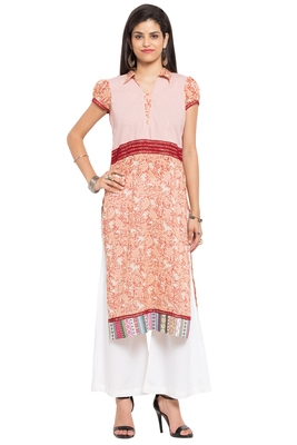 Peach Printed Cotton Stitched Long Kurtis