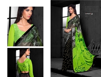 Black Embroidred Georgette Saree with Blouse