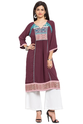 Magenta Printed Cotton Stitched Long Kurtis