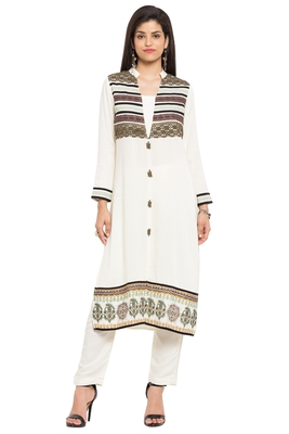 White Printed Cotton Stitched Long Kurtis