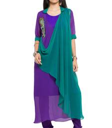 Purple Embroidered Georgette Stitched Long Kurtis