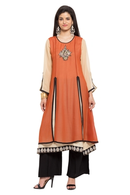 Brown Embroidered Georgette Stitched Long Kurtis