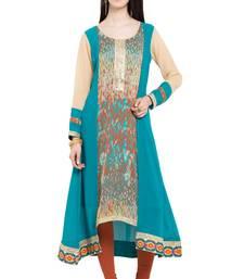 Buy Blue printed georgette stitched long-kurtis long-kurtis online
