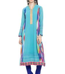 Blue printed georgette stitched long-kurtis