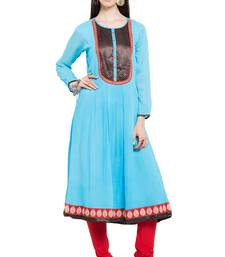 Blue Plain Georgette Stitched Long Kurtis