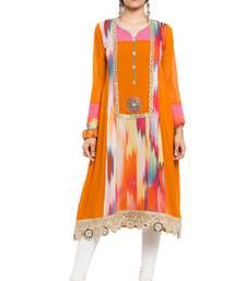 Orange Printed Georgette Stitched Long Kurtis