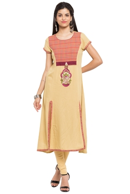 Beige Embroidered Cotton Stitched Long Kurtis
