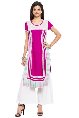 Purple Printed Cotton Stitched Long Kurtis