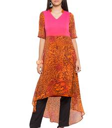 Orange printed georgette stitched long-kurtis