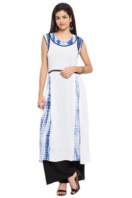 White Plain Cotton Stitched Long Kurtis