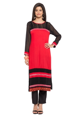 Red Plain Cotton Stitched Long Kurtis