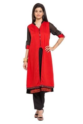 Red plain cotton stitched long-kurtis
