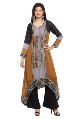 Brown Printed Georgette Stitched Long Kurtis