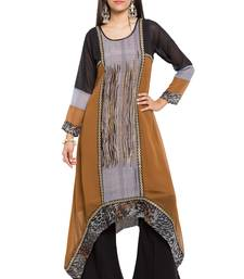 Brown printed georgette stitched long-kurtis