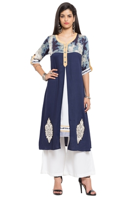 Blue Embroidered Cotton Stitched Long Kurtis