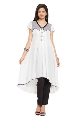 White plain cotton stitched long-kurtis