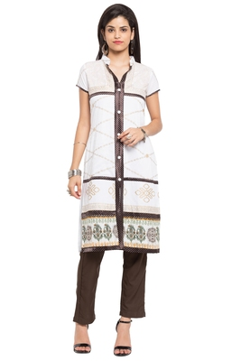 White plain cotton stitched long-kurtis