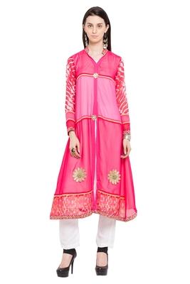 Pink Plain Georgette Stitched Long Kurtis