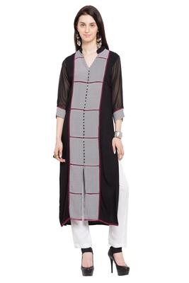 Black Printed Georgette Stitched Long Kurtis