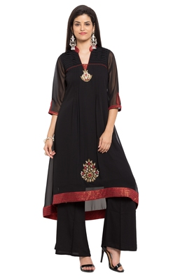 Black Embroidered Georgette Stitched Long Kurtis