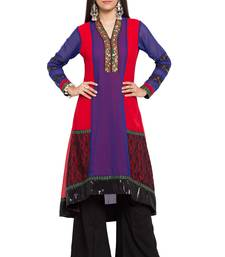 Purple printed georgette stitched long-kurtis