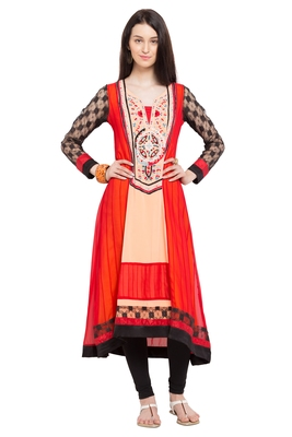 Orange Embroidered Georgette Stitched Long Kurtis