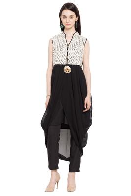 Black Plain Georgette Stitched Long Kurtis