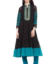 Buy Black embroidered georgette stitched long-kurtis plus-size-kurtis online