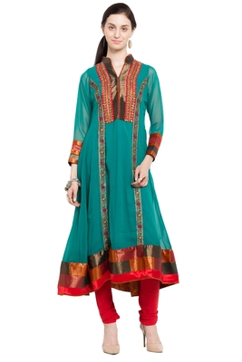 Green Embroidered Georgette Stitched Long Kurtis