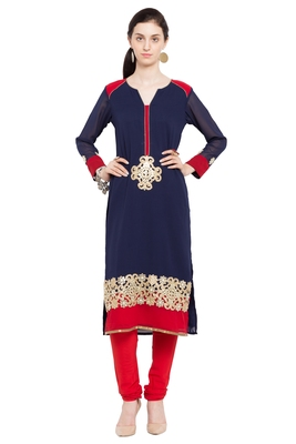 Blue embroidered georgette stitched long-kurtis