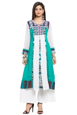 Green Embroidered Cotton Stitched Long Kurtis