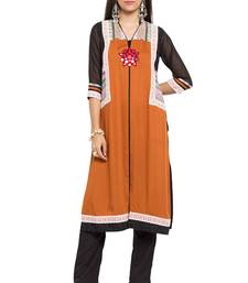 Mustard Embroidered Cotton Stitched Long Kurtis