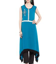 Blue   Embroidered Georgette Stitched Long Kurtis