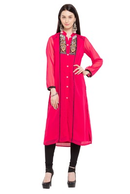 Pink   Embroidered Georgette Stitched Long Kurtis