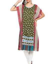 Green   Printed Georgette Stitched Long Kurtis