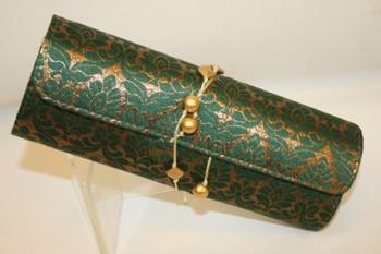 Green and Gold Big Leaf Shape Butti design Brocade Material Design Dhol Clutch Bag