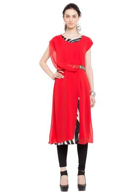 red   plain georgette stitched long-kurtis