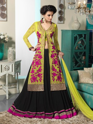 Green Embroidery Pure Georgette Semi Stitched Designer Anarkali Suit and Lengha