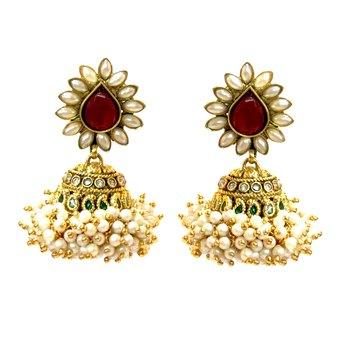 Red Basra Pearl & Drop Earrings