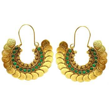 Green Stone & Coin Hoop Earrings