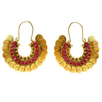 Red Stone & Coin Hoop Earrings
