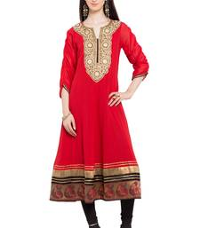 Red embroidered georgette stitched long-kurtis