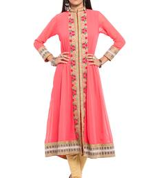 Buy Pink embroidered georgette stitched long-kurtis plus-size-kurtis online