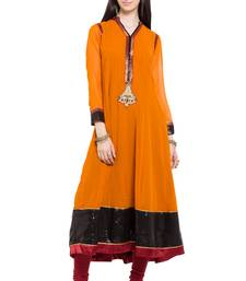 Mustard embroidered georgette stitched long-kurtis
