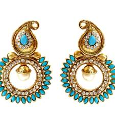 Buy Turquoise Paisely Round Stone Earring danglers-drop online