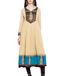 Beige embroidered georgette stitched long-kurtis