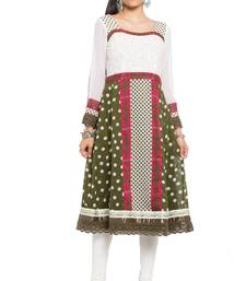 White Printed Georgette Stitched Long Kurtis