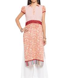 Peach printed cotton stitched long-kurtis