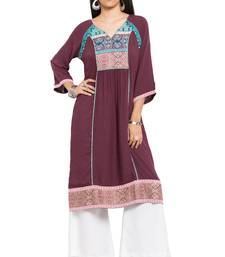 Magenta printed cotton stitched long-kurtis